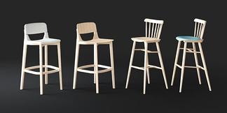 现代木质吧椅组合
