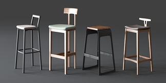 后现代木质铁艺吧椅组合