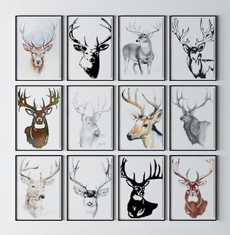 现代彩色麋鹿挂画组合