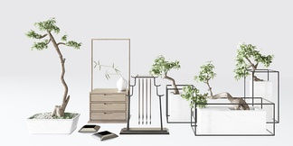 新中式书桌盆栽摆件组合