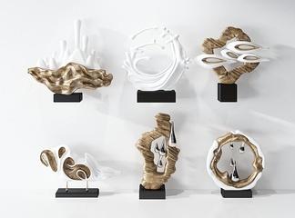 中式物品装饰摆件组合3D模型