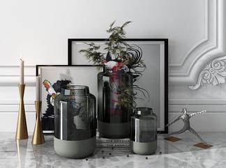 现代玻璃花瓶装饰摆件3D模型