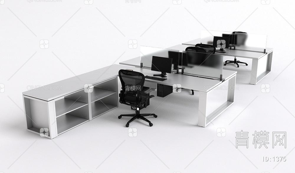办公桌卡座椅组合