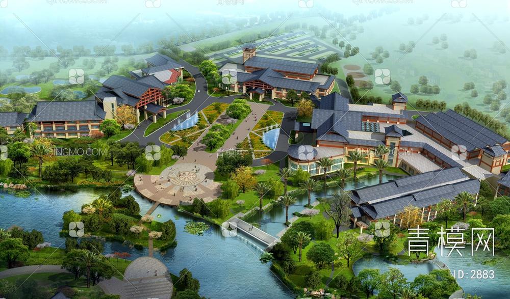 青石中式园林建筑