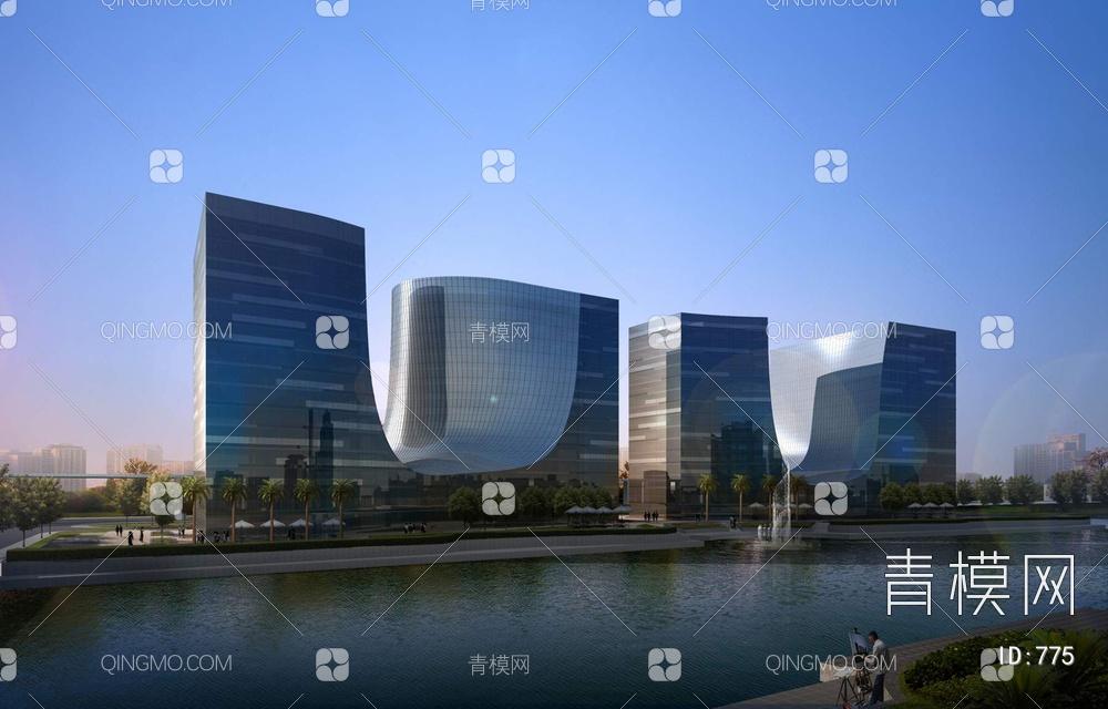 现代高层异形办公楼