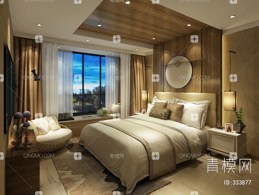 卧室空间  现代中式风格
