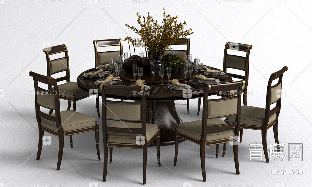美式餐桌椅餐具组合