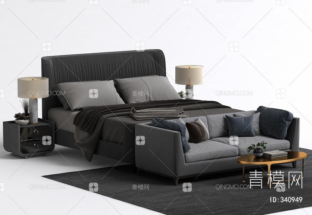 现代沙发床头柜床组合