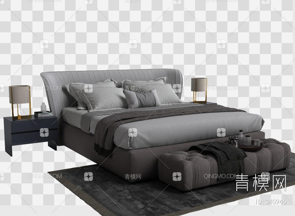 现代床尾凳床组合