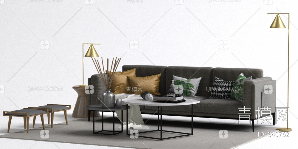 现代沙发落地灯组合