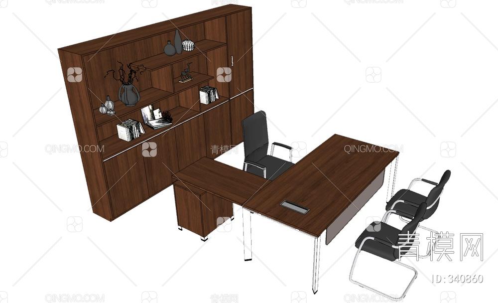 经理办公桌书柜组合