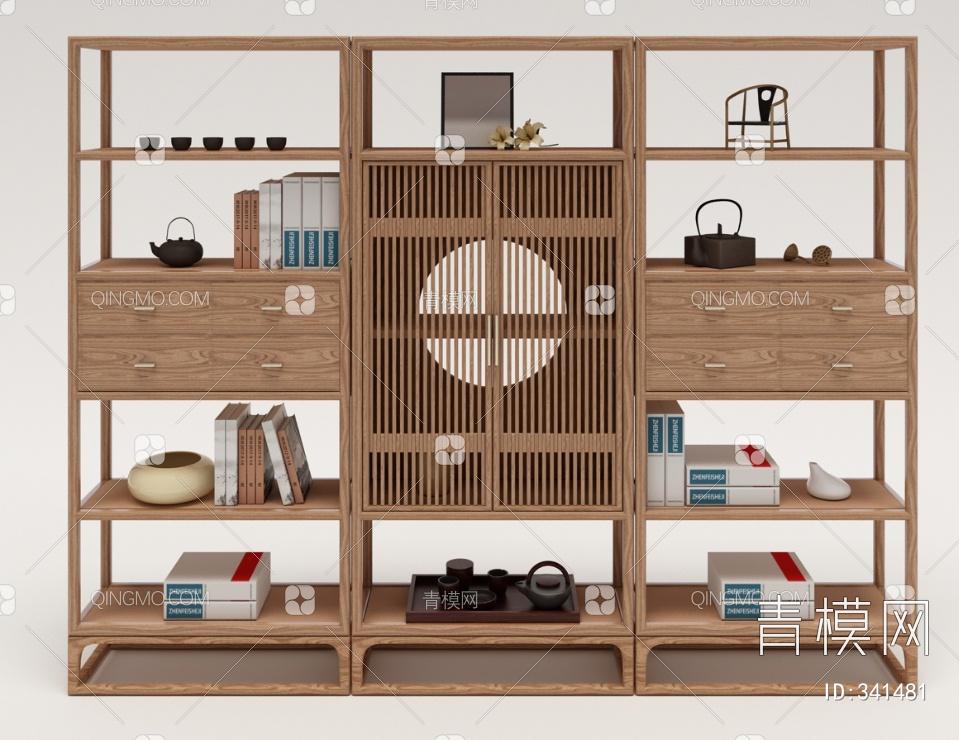 中国雅宝阅界新中式装饰柜3D模型