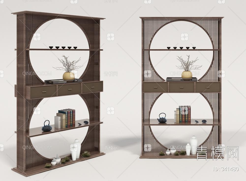 中国 雅宝 阅界新中式装饰架3D模型