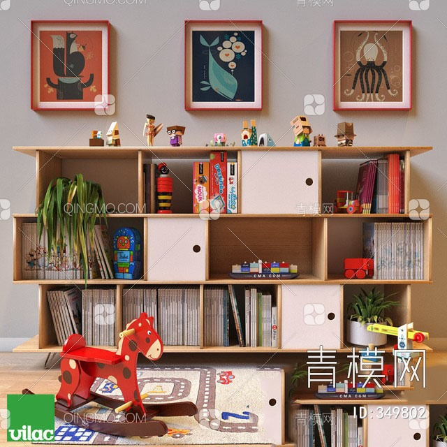 现代儿童书柜玩摆件