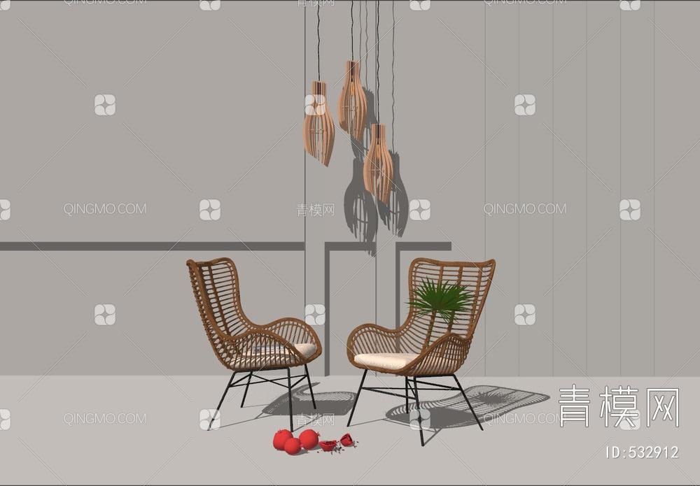 现代藤艺休闲椅 灯具